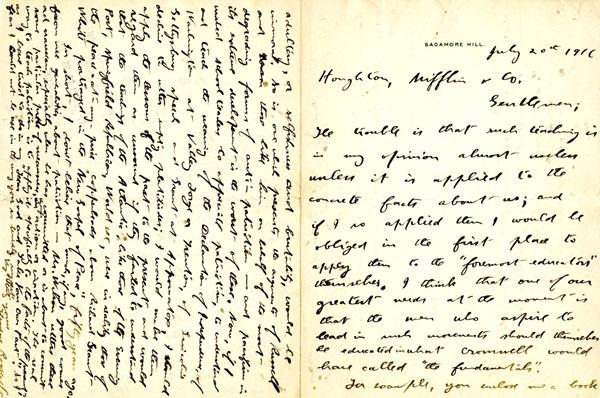 Letter from President Teddy Roosevelt