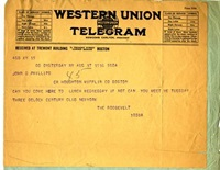 Theodore Roosevelt Telegram