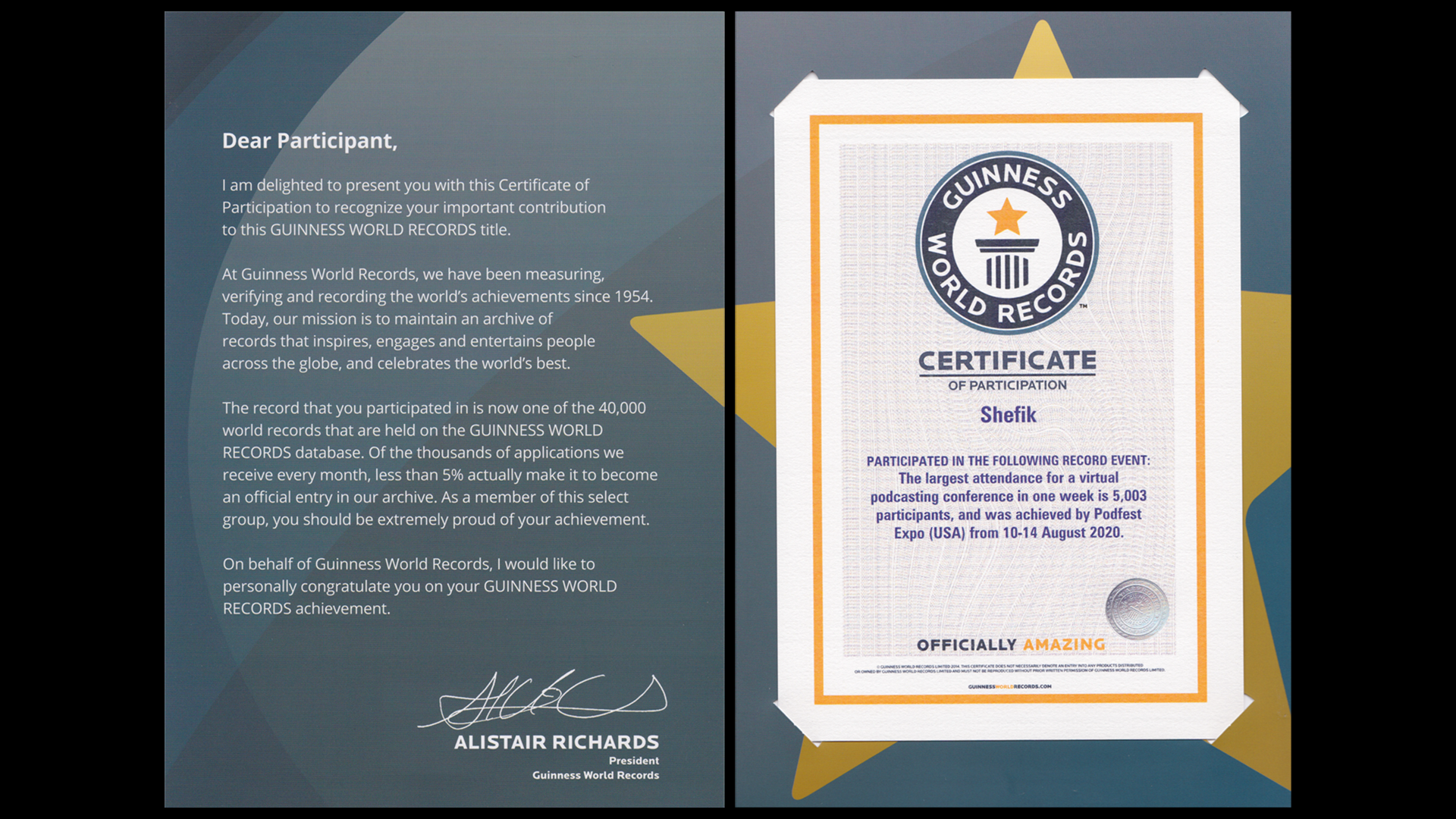 Shefik Participates With Podfest Expo and Sets Guinness World Record
