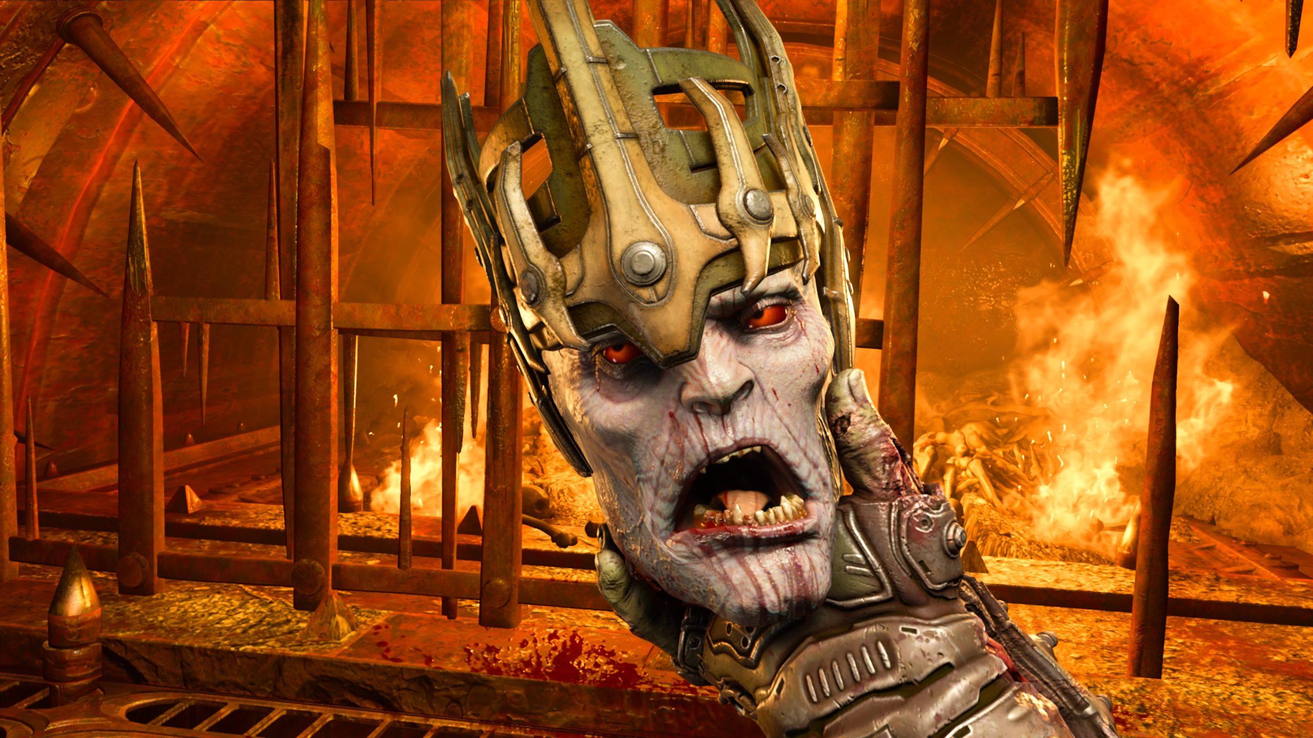 Doom Eternal screenshot - Doomslayer holding a severed head
