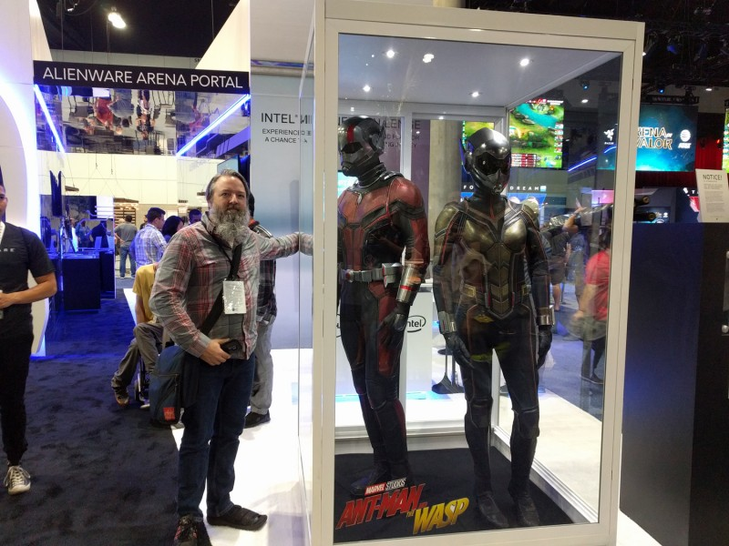 Here's Cork posing for a photo op with Ant-Man and Wasp Lady. We're still not sure why they have to stand in that glass booth for the whole show. Seems kinda cruel.
