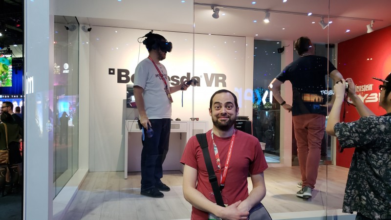 Speaking of wearing a stupid thing on your head – behold, the elusive VR gamer in its natural habitat!
