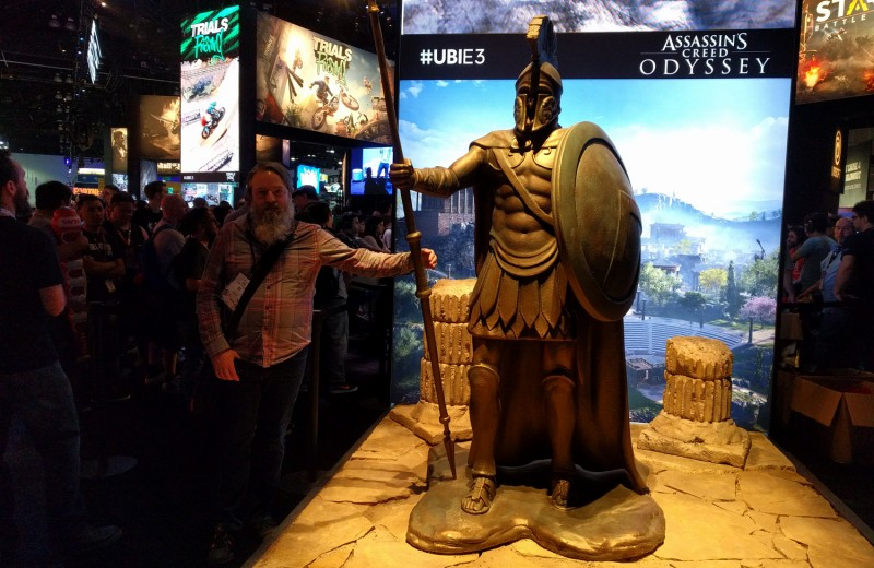Up next was Ubisoft, where they have a Spartan statue for Assassin's Creed Odyssey. Cork really phoned this photo in if I'm being honest.