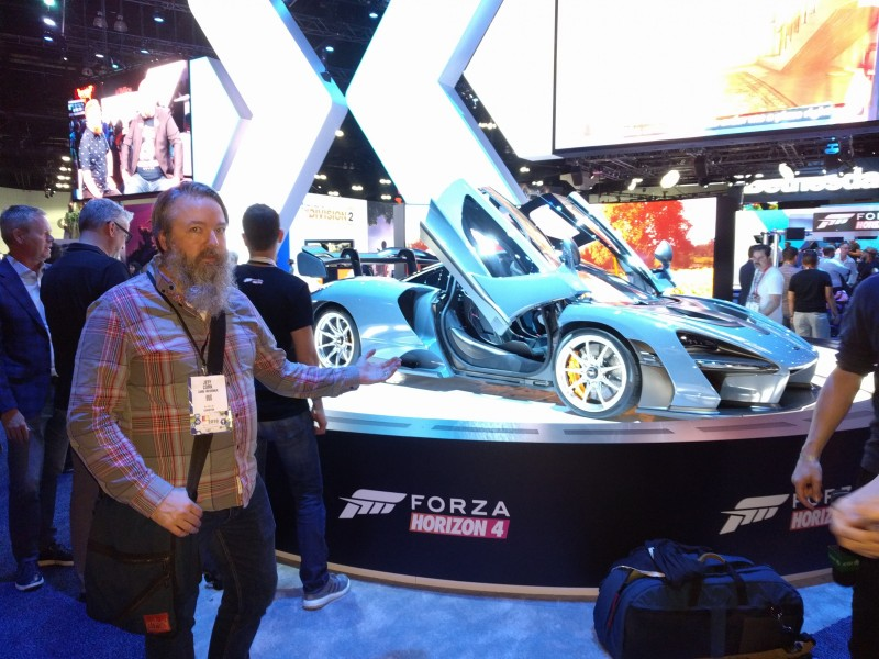 Hey, we found the missing sports car that was supposed to bring Microsoft's press conference to a crawl! Here's Jeff Cork presenting it with just the right amount of enthusiasm.