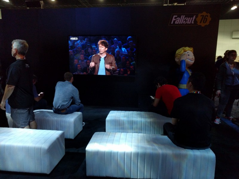 For some reason these people chose to spend their time at Bethesda's booth watching a rerun of Bethesda's press conference. I'm guessing they just wanted to sit down for a bit.