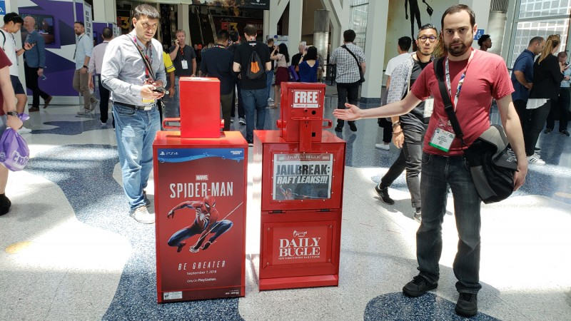 Here's a cool thing: Sony made fake newstands with The Daily Bugle for Spider-Man.