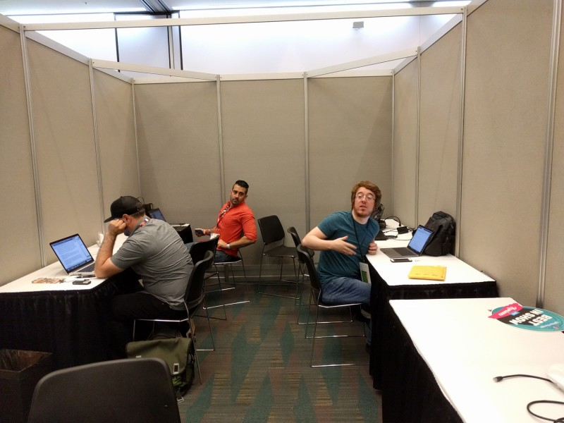 And finally, the most important stop of all: The luxurious Game Informer booth, where G.I. editors come to write their stories and look funny when people try to take a decent picture – must you ruin everything, Kyle?!