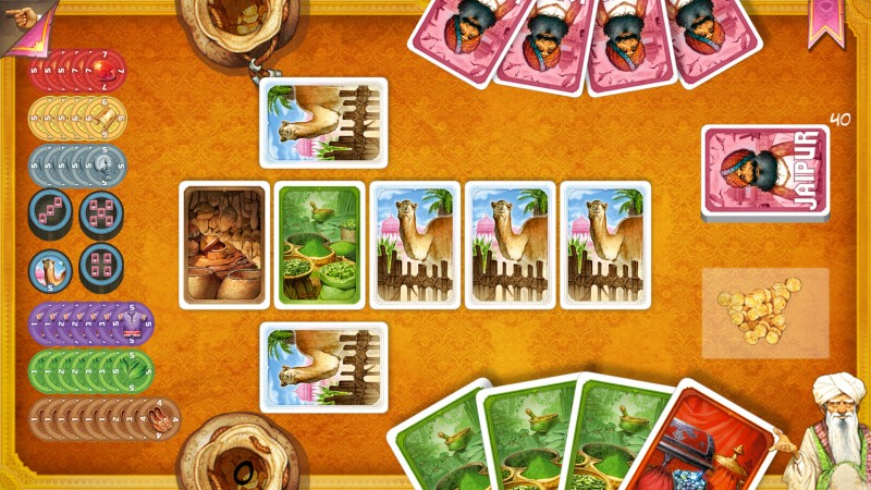 A screen shot of Jaipur, a digital board game on Android and iOS.