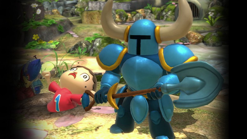 Shovel Knight gives The Villager a taste of his own dirty medicine.