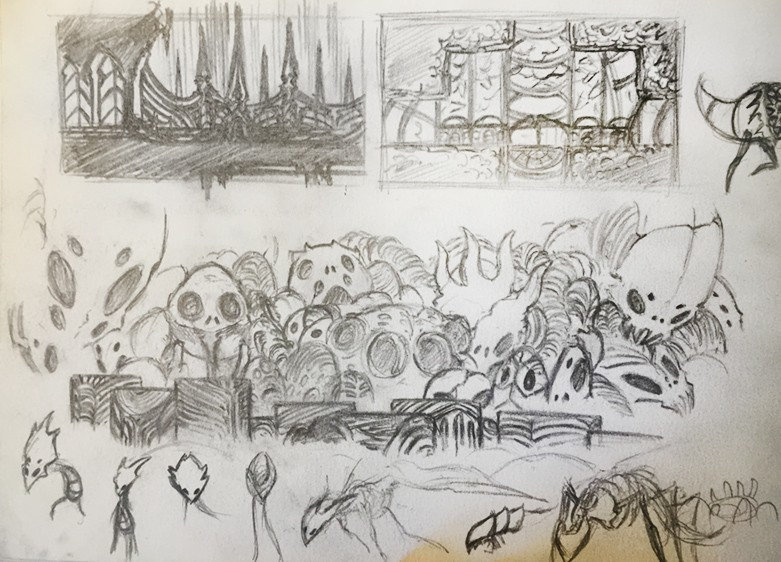 One of Gibson's early concept sketches for the the Colosseum of Fools environment and...