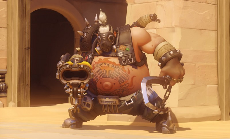 A screenshot of Roadhog, a member of Overwatch's tank roster.
