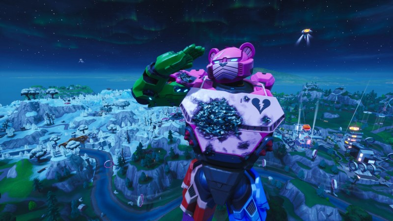 The Mech Vs The Moster In Fortnite Fortnite Just Had A Kaiju Versus Mech Fight On Its Map Game Informer