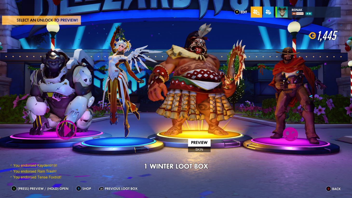 Overwatch 2020 Christmas Boxes Overwatch Gives All Players Five Free Winter Loot Boxes   Game