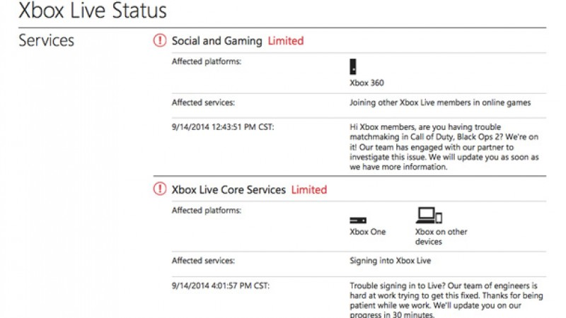 Update] Microsoft Reports Xbox Live Sign-in And Multiplayer Issues