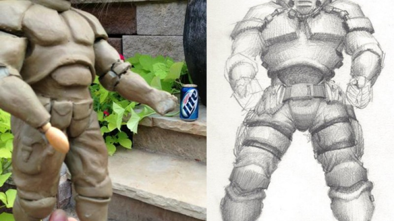 See The Original Sketch And Model That Inspired Doom S Doomguy