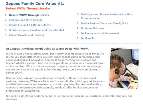 """Zappo's """"WOW""""  core value"""