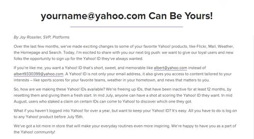Yahoo!宣告