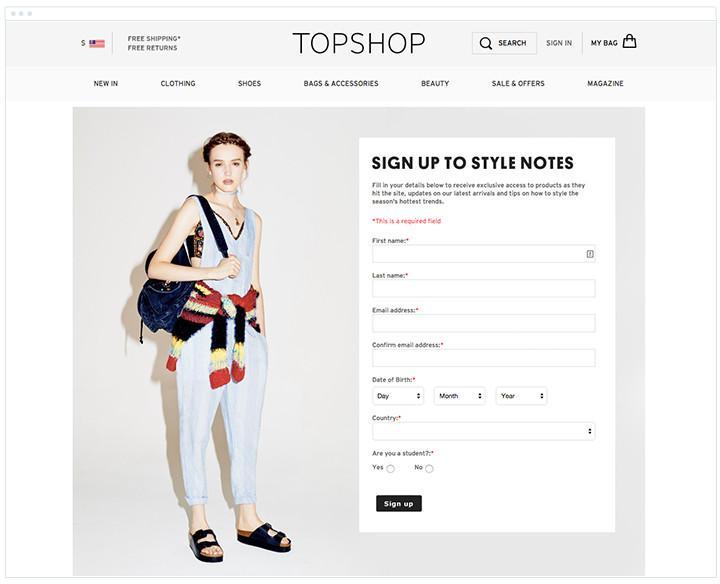 英國品牌 TopShop 的註冊表單