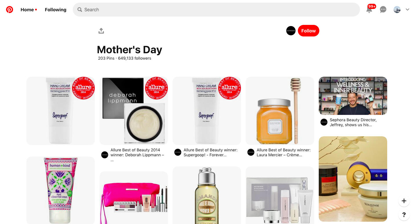 Sephora 在 Pinterest 開設母親節促銷專區