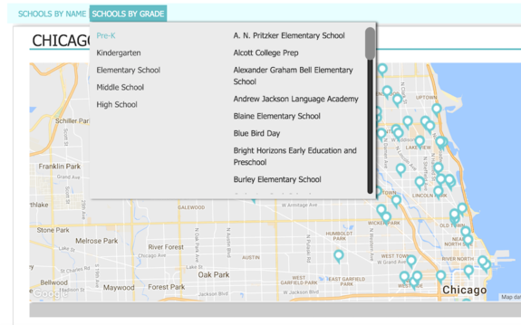 Browse schools by grade, map, name