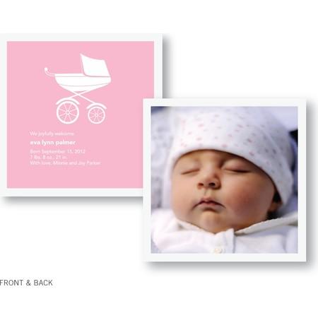 Pink Pram Birth Announcement