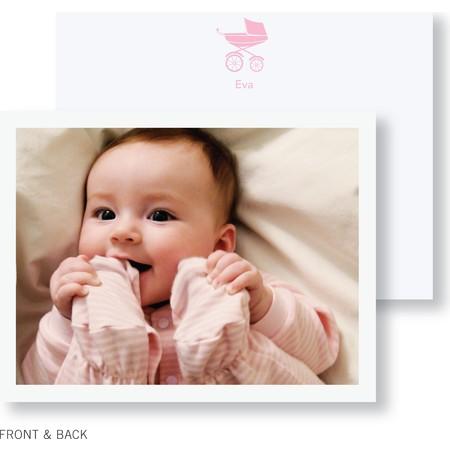 Pink Pram Photo Thank You Card