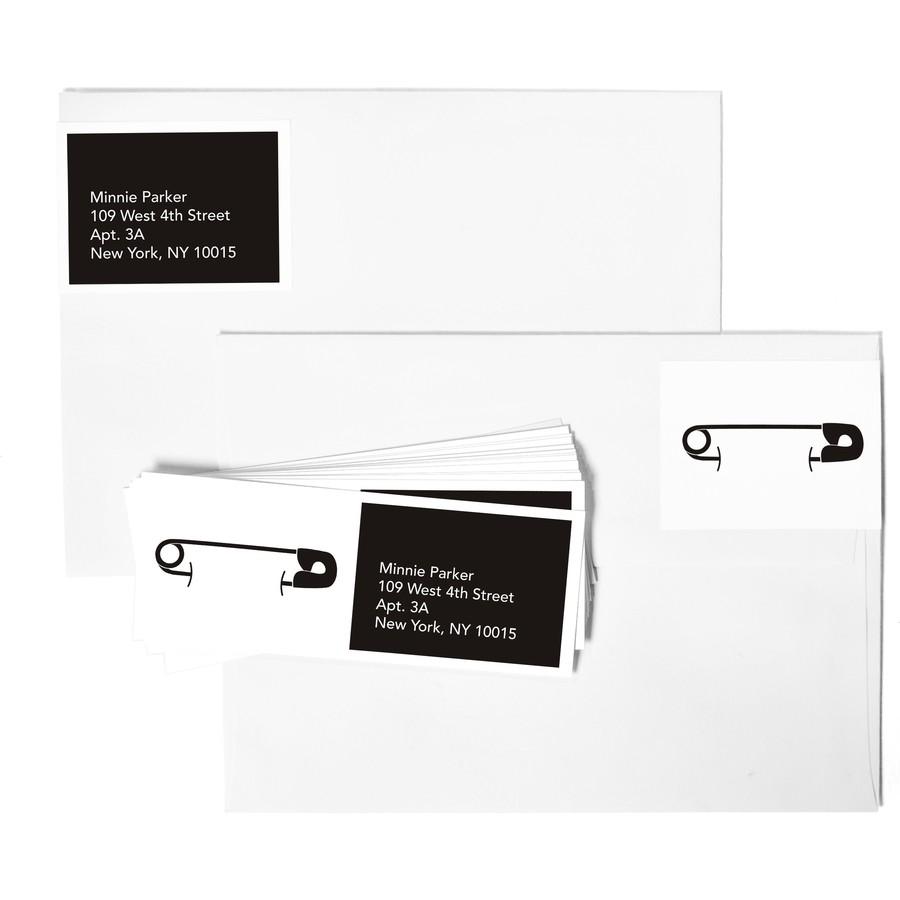 B&W Diaper Pins Address Labels