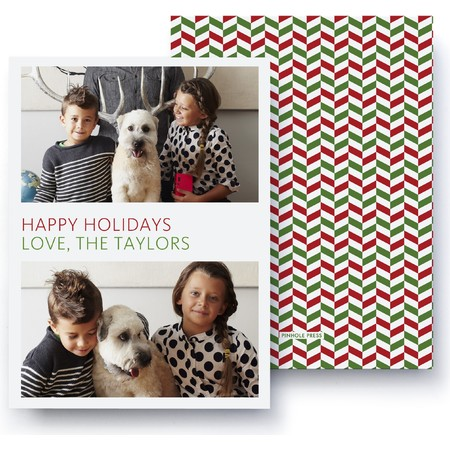 Red Green Herringbone Photo Card