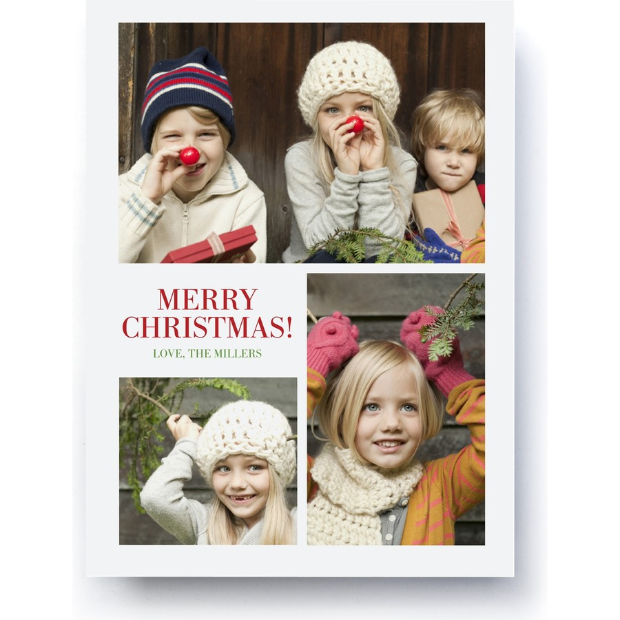 Merry Christmas Trio Photo Card