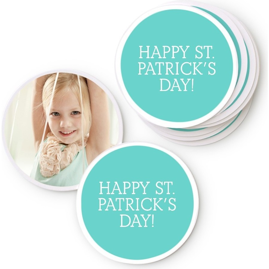 Mint Photo Coasters for St. Patrick's Day
