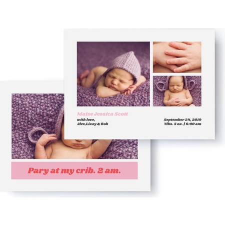 Pink Party at My Crib Birth Announcement Detail