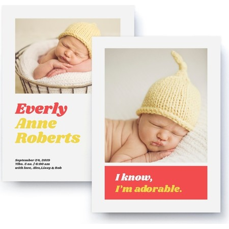 I Know I'm Adorable Red & Yellow Birth Announcement