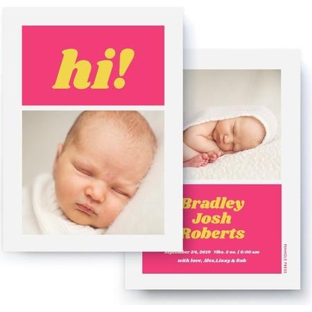 Hi! Pink & Yellow Birth Announcement