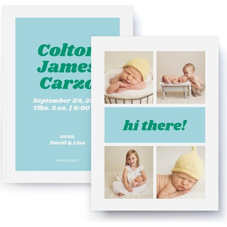 Hi There! Blue & Green Birth Announmcent
