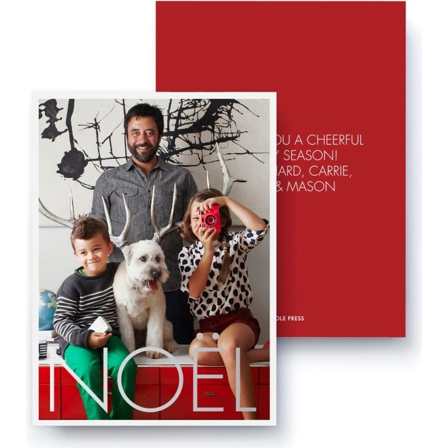 Silver Foil Noel Holiday Card