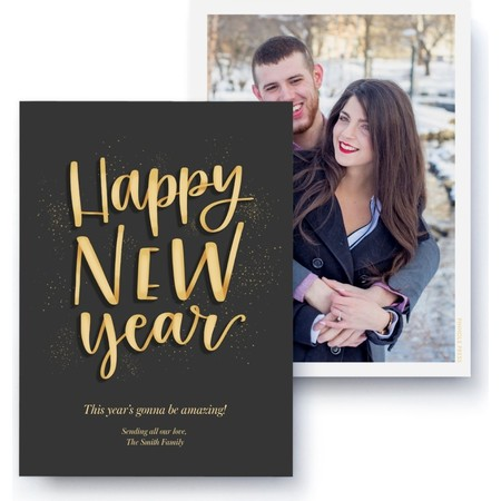 Happy New Years Confetti Card, Front Detail