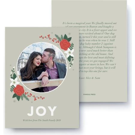 Joy Floral Letter Card, Front Detail
