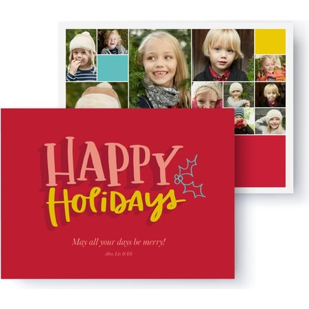 Happy Holiday Collage Photo Card, Front Detail
