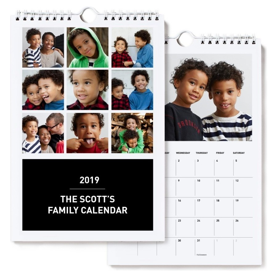 2019 Small Wall Calendar, Black