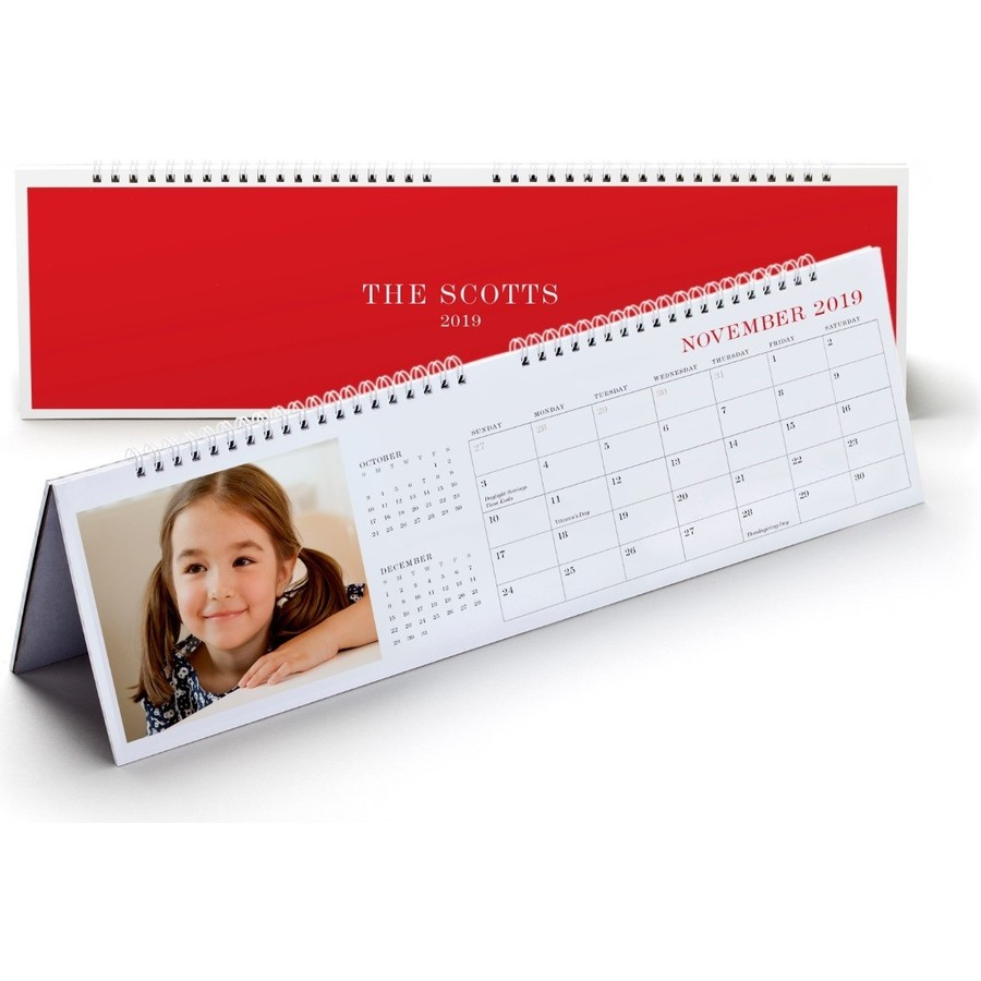 Photo Desk Calendar, Red