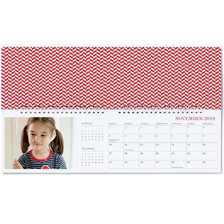 Photo Desk Calendar, Red Detail