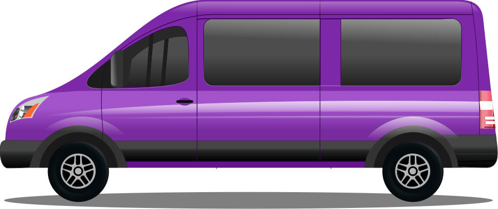Airport Shuttle Van Cartoon Graphic