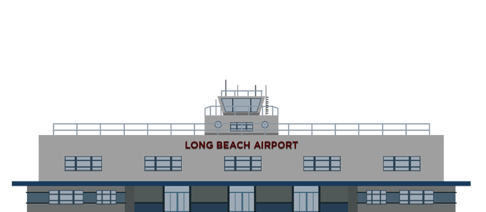 Long Beach Airport Cartoon Graphic