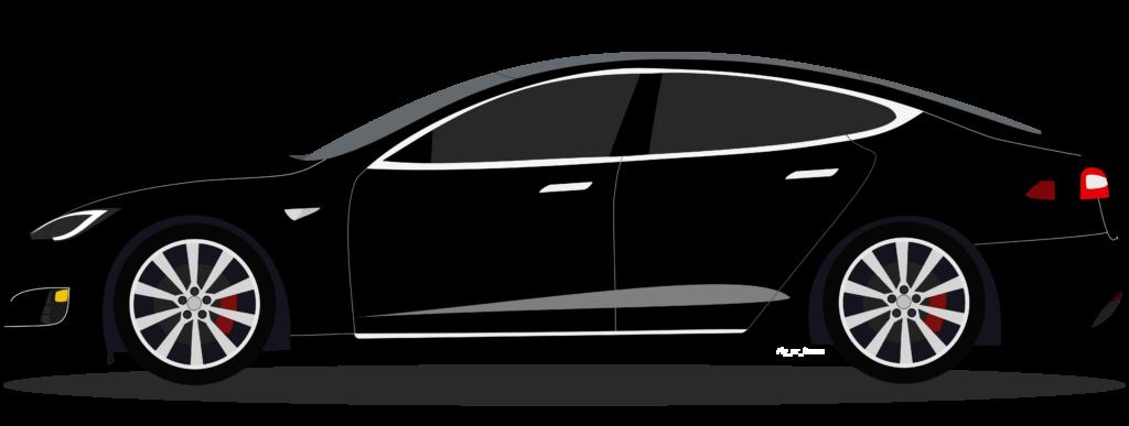 Tesla S Cartoon Graphic