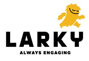 Larky logo white bg black tagline