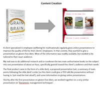 Content creation grain brain