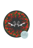 Foxes   roses circle png