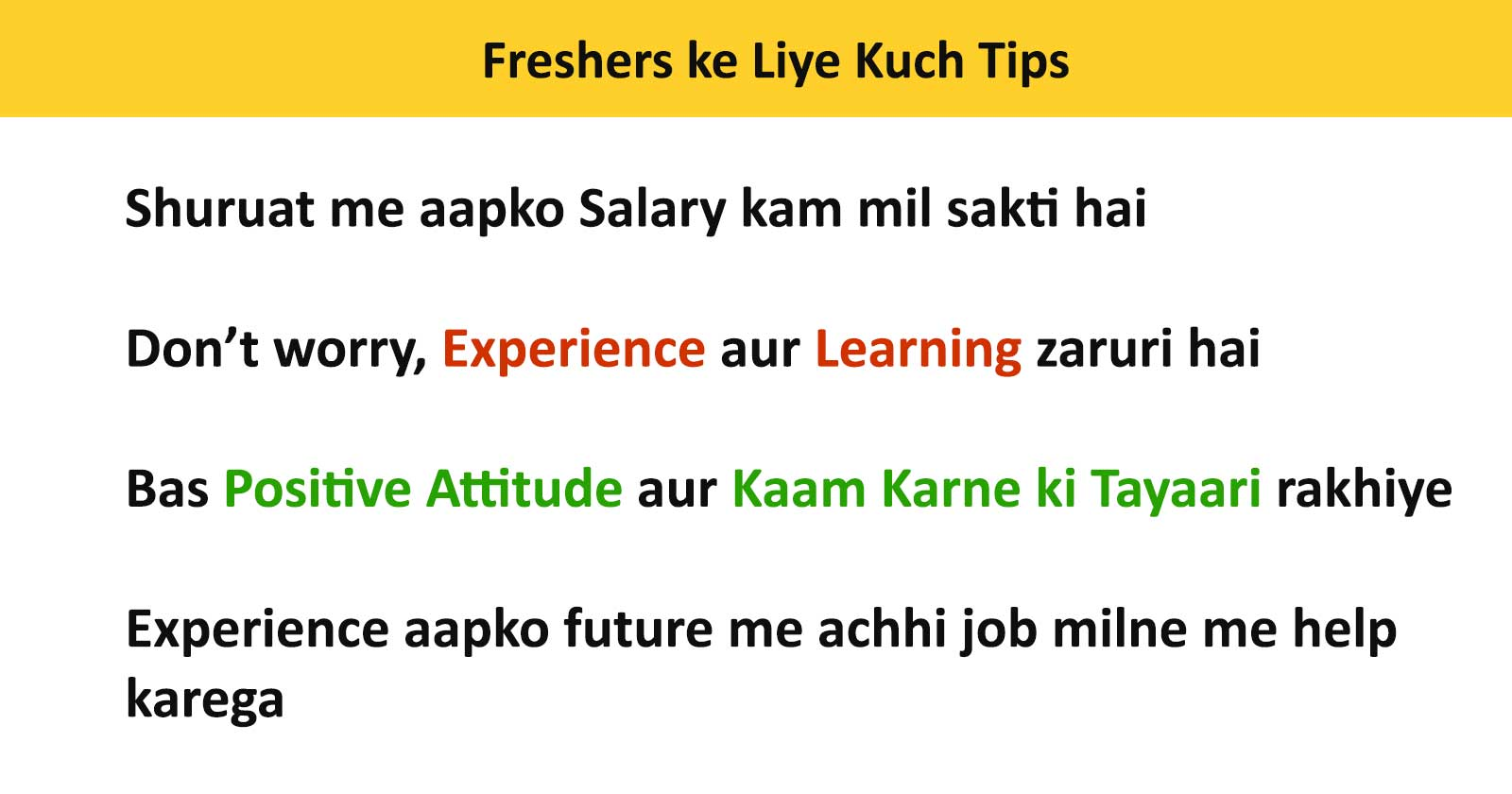 Tips for freshers looking for jobs