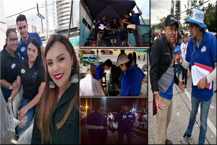 Equipo de HRN durante el Carnaval de Tegucigalpa
