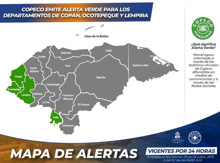 Alerta verde para tres departamentos de Honduras